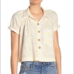 FREE PEOPLE | new sailor crop button up tee xs